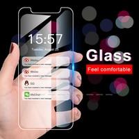 9H vidrio simple templado para iPhone 11 Pro Max 2019 Protector de pantalla película cubierta de vidrio para iPhone 6 6s 7 7 Plus X 10 XS XR XS.