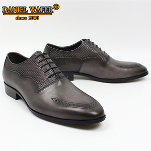 Image 4 - LUXURY BRAND MEN OXFORD SHOES ITALIAN HANDMADE GENUINE LEATHER FORMAL SHOES LACE UP GRAY OFFICE BUSINESS WEDDING DRESS SHOES MEN