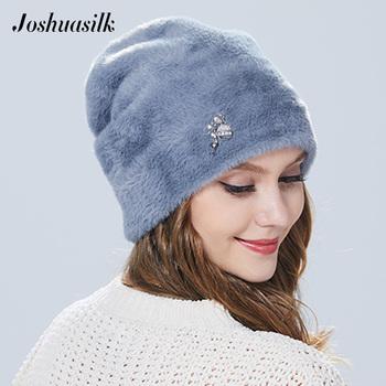 Joshuasilk zima kobieta kapelusz Faux futro i króliki angory miękki i delikatny wisiorek dekoracji mody dla dziewcząt tanie i dobre opinie Faux futra Dla dorosłych Kobiety Na co dzień 19DH13 Stałe Skullies czapki