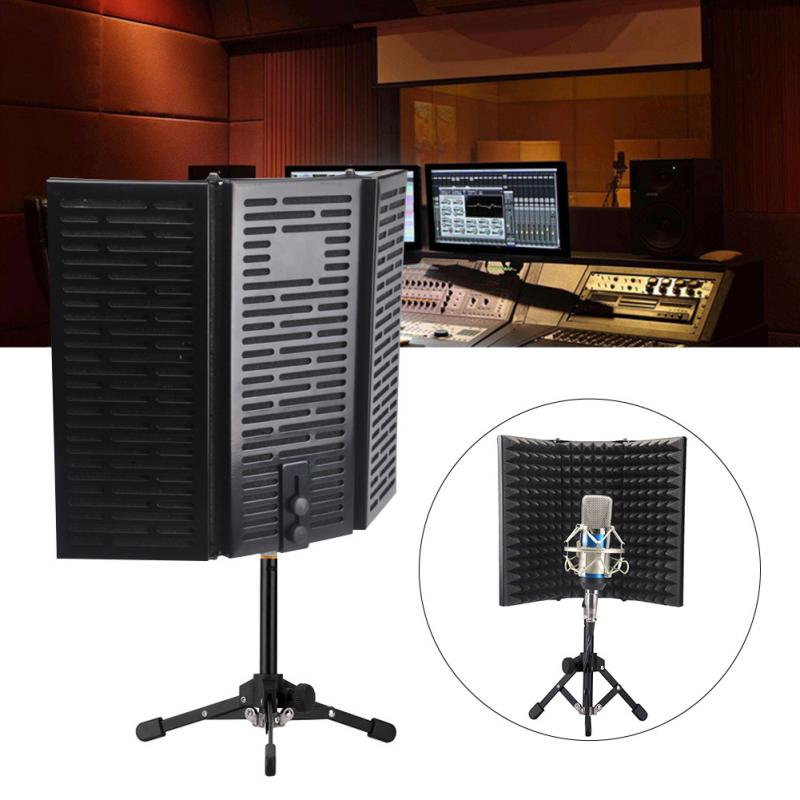 Acoustic Compact With Tripod Stand Adjustable Filter Soundproof Foldable Isolation Shield Microphone Accessories