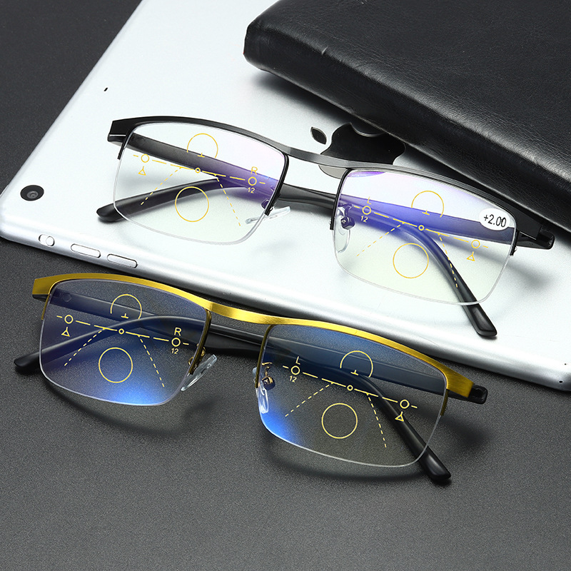Men Women Progressive Reading Glasses Multifocal Bifocal Magnifying Presbyopic Glasses Metal Anti Blue Ray Square Frame 2.0