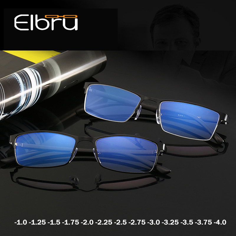 Elbru Classic Business Blue Light Blocking Myopia Glasses Men Metal Square Glasses -1.0 1.25 1.5 1.75 2.0 2.25 2.5 2.75 3.0 3.25