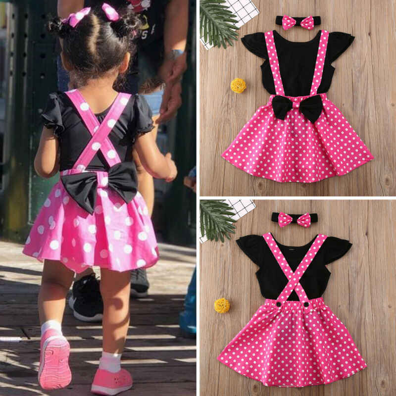 1-4T 2 Stuks Peuter Cartoon Muis Baby Baby Meisje Kleding Romper + Band Jurk + Hairbow Outfits minnie Mouse Kostuum