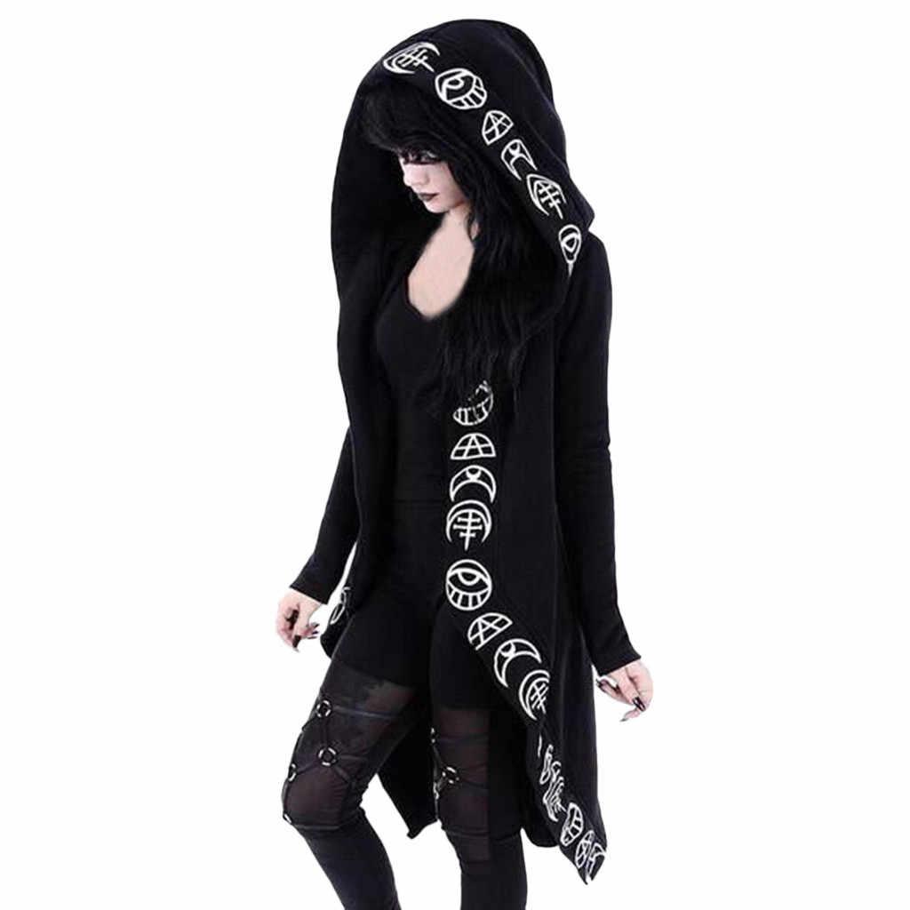 Herfst Lange Vest Vrouwen Punk Maan Print Hooded Zwart Vest Jas Plus Size Jassen Womens Bovenkleding Casaco Feminino