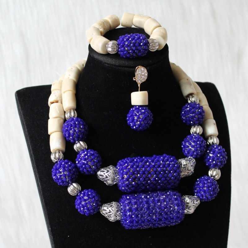 4UJewelry ניגרי כלה תכשיטי סט לבן אלמוגים חרוזים אפריקאי חרוז רויאל כחול גדול כדורי נשים תכשיטי סט 2 שכבות עגילים