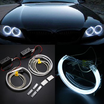 2 Pair CCFL Angel Eyes Halo Rings Lights COB LED White Headlight Bulbs Angel Eye Lamp Set For BMW E46 E36 E39 image