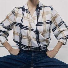 ZXQJ-Blusa Vintage de manga larga con cuello en V para verano, camisa con estampado a cuadros para mujer, cuello en V, bajo elástico, 2021