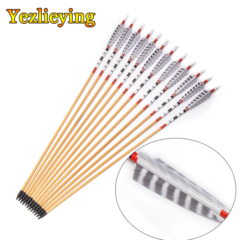 Recurve Compound Bow Longbow Archery 6pcs 80cm Spine 500 OD 8.5mm Wooden Pine Arrows With Turkeys Feathers