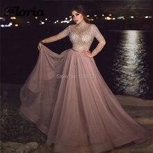 Розовые вечерние платья, украшенные бисером Последние Новые Арабские кутюр Дубай вечерние платья кафтаны длинные с кристаллами для платья для выпускного Robe De Soiree