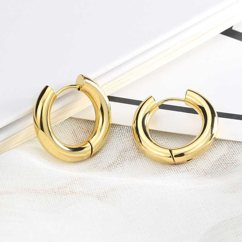 Innopes 2 חתיכות זהב פלדה שחור 316L נירוסטה עגול עובי חישוק עגילים קוריאני חמוד קטן מעגל אוזן פאנק תכשיטים