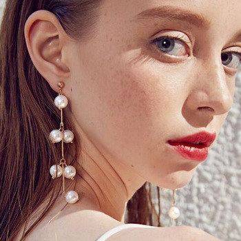 2018 Amazon New Style Pearl Tassel Earrings Long Branches Curved Shape Ear Stud European and American All-match Ear Stud image