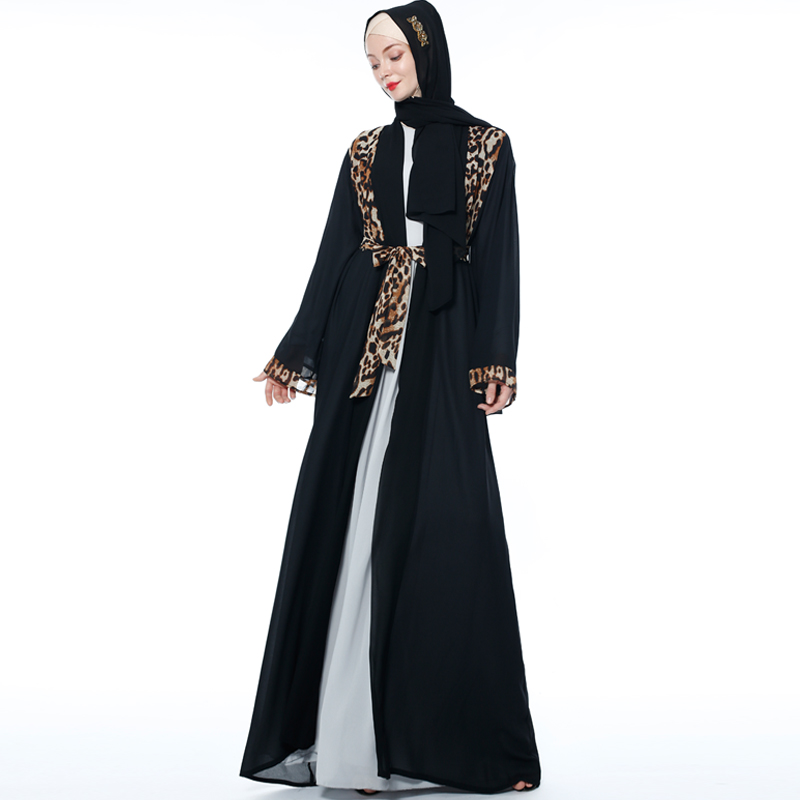 Leopard Open Abaya Kimono Muslim Hijab Dress Kaftan Dubai Turkey Abayas For Women Caftan Marocain Oman Prayer Islamic Clothing