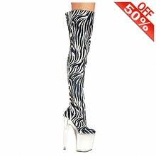 Женские леопардовые и готические сапоги высокие до колена на