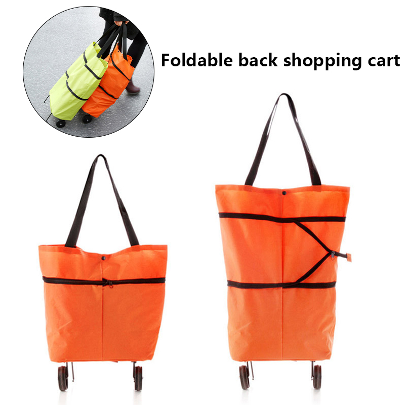 Light Weight Folding Foldable Shopping Cart Luggage Travel Bag Trolley Portable Tug Hanging Bag Fashion Oxford Solid Women Bags