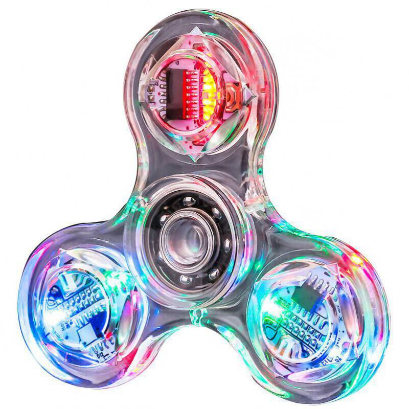 Luces LED Fidget Spinner Metal Anti Stress Reliever Adult Toy Autism Hand Flying Spinner Ring Tops Light Puzzle Baby Kids Toys