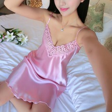 Sexy Nightdress Deep V Lace Sleepwear Women Lingerie Silk Satin nightie Nightgow
