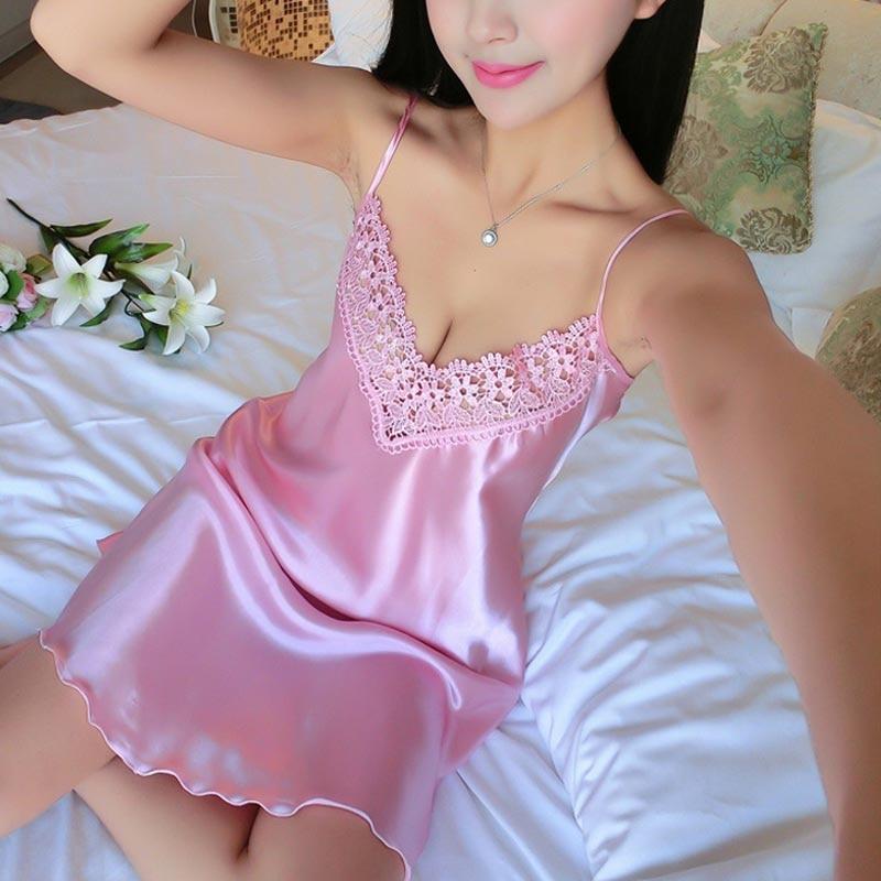Sexy Nightdress Deep V Lace Sleepwear Women Lingerie Silk Satin Nightie Nightgown Sleeveless Sling Nightwear Home Dress #D