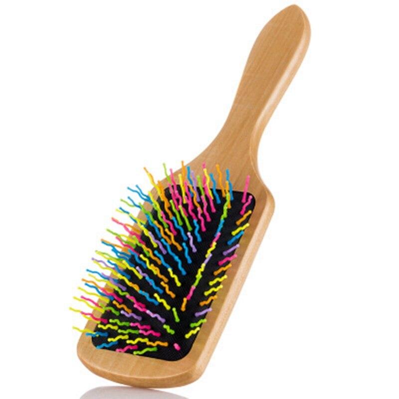 de cabelo de madeira da pá do arco-íris natural