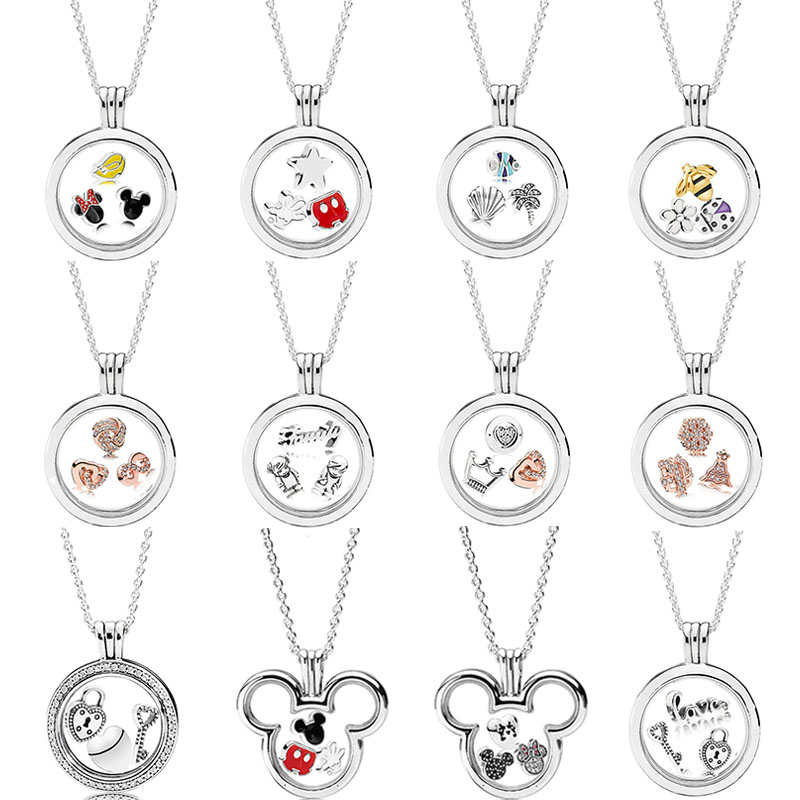 2018-925-Sterling-Silver-Original-Pandora-Mickey-Minnie-Floating-Locket-Necklace-With-Petite-Charm-Glass-For