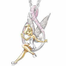 Pink Flower Fairy Necklace For Women Girl Cute Angel Wings Love Heart Believe Crystal Elf Pendant Necklace Jewelry fantasy flower cute fairy rings elf angel cubic zirconia wings gold plating two toned women wedding ring gift jewelry d20