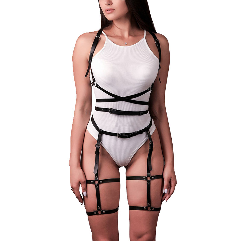 2 Pc/Set PU Leather Harness Gothic Cage Bra Belts For Women Sexy Bdsm Lingerie Garter Punk Straps Underwear Body Thigh Belt