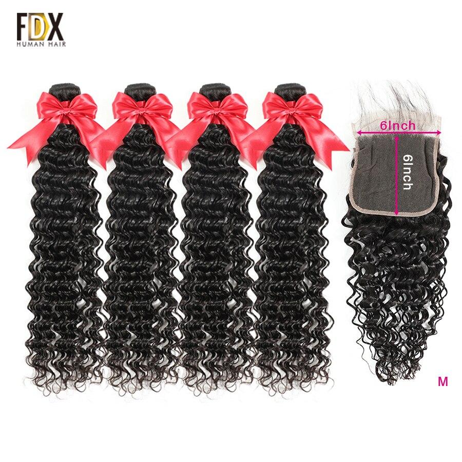 FDX  Brazilian Human Hair Deep Wave Bundles With Closure 10-36 Inch 4 Bundles With 6x6 Lace Closure Hair Remy Hair
