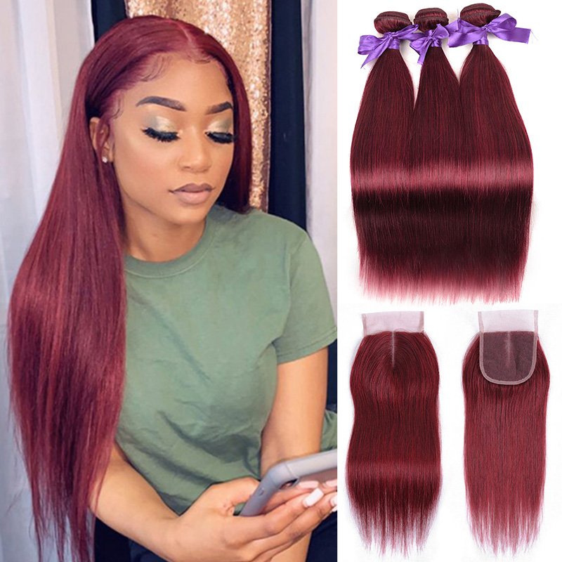 Shining Star Colored 99J Brazilian Burgundy Bundles With Closure Straight Red Human Hair 3 Bundles With Closure Non-remy Weaves