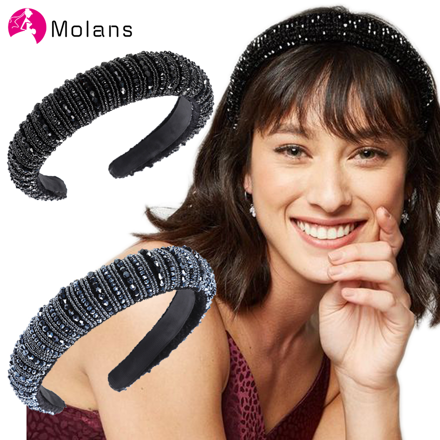 MOLANS Black Bead Embellished Padded Headbands Delicate Bejeweled Solid Crystal Hairband Women 3cm Wide Fashion Beading Headband