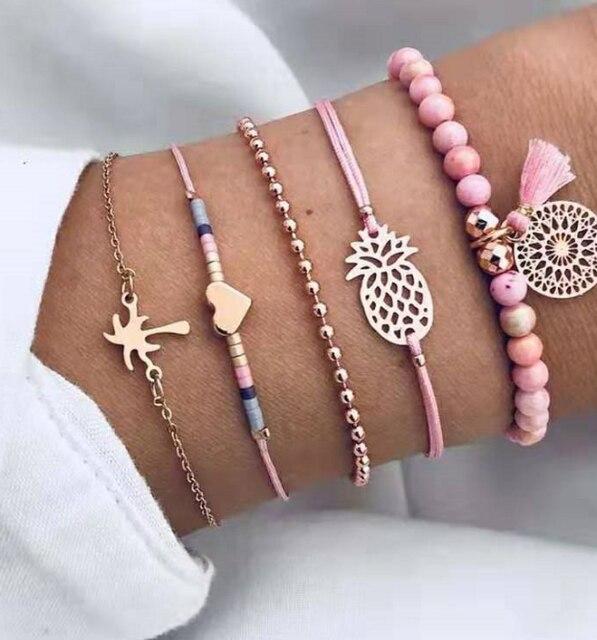 Crazy Feng 2018 Bohemian Marble Stone Beads Bracelet Set For Women Natural Stone Tassel Pendant Bangles Bracelet Femme Jewelry 5