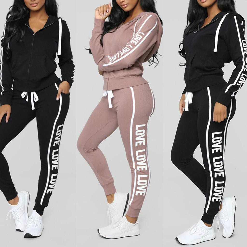 Women Tracksuit 2 Piece Set Causal Warm Solid Hoodies Pant Clothing Set Fashion Letter Print Drawstring Winter Female Sport Suit