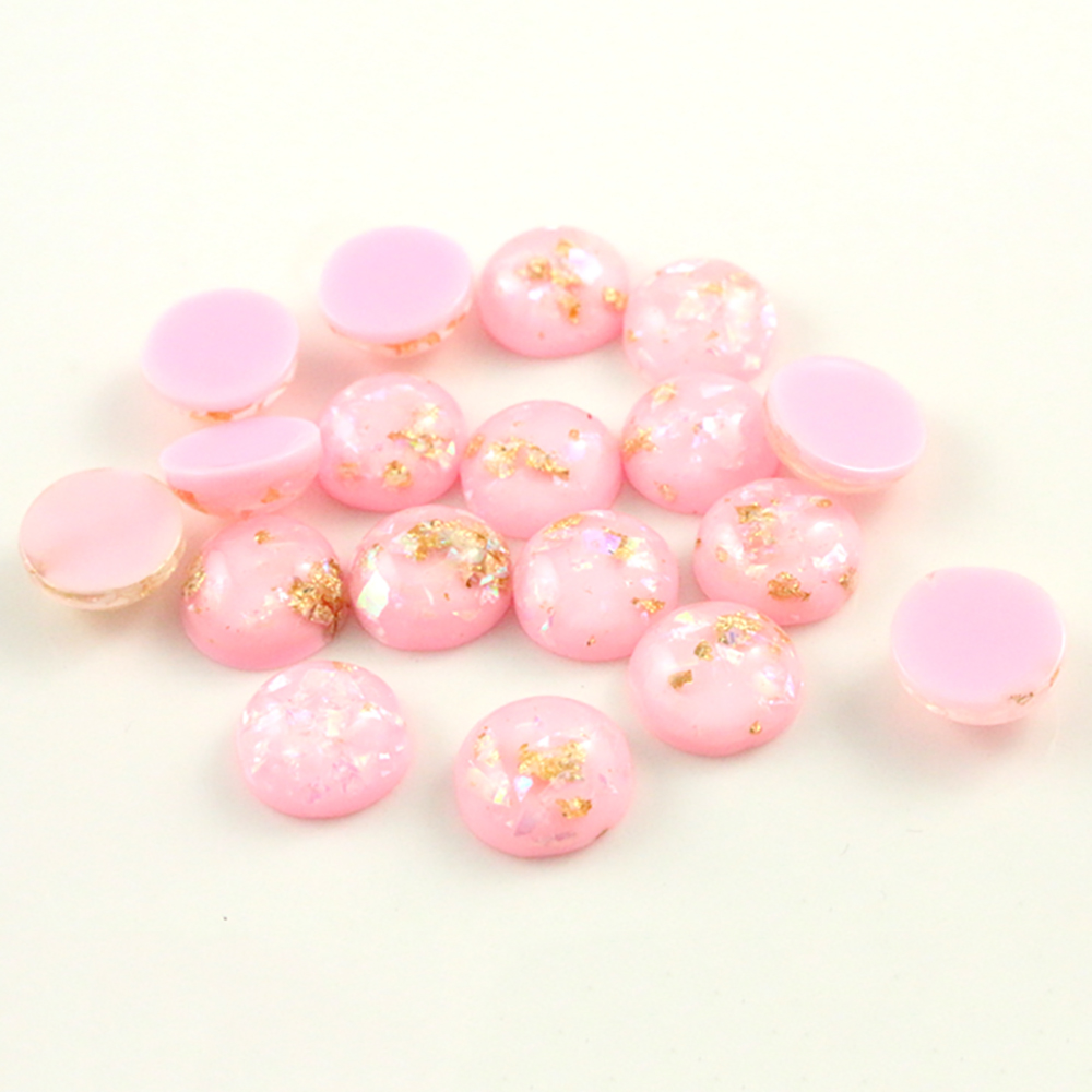 New Fashion 40pcs 8mm 10mm 12mm Pink Colors Built-in Metal Foil Flat Back Resin Cabochons Cameo