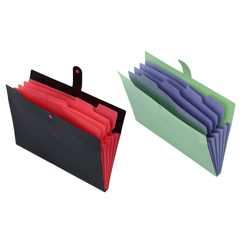2 Pcs Plastic Expanding File Folders Accordion Document Organizer 5-Pocket A4 Letter Size For School And Office , Green & Black