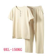 Letnia koszula męska 5XL 6XL 7XL 8XL 9XL biust 155cm plus size pościel koszula w dużym rozmiarze z spodnie mężczyzn 5 kolory tanie tanio NEFEILIKE COTTON KOSZULE CODZIENNE SHORT BEZ KOŁNIERZA Jednorzędowe REGULAR 2009 Sukno Na co dzień Stałe