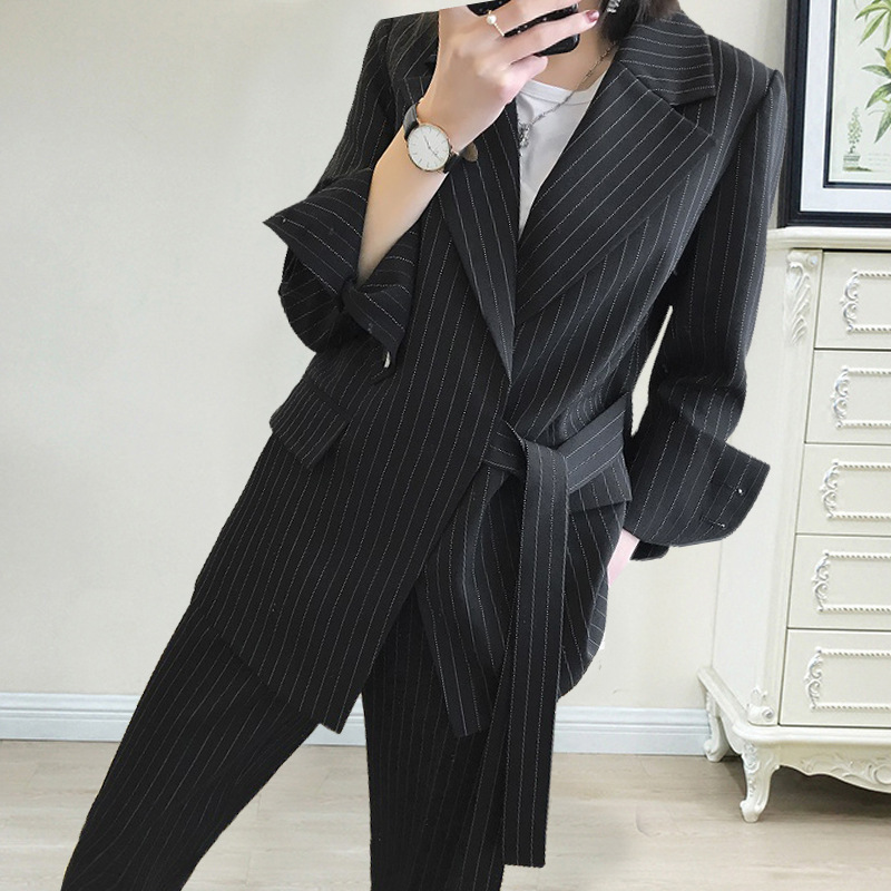 Large Size XL-5XL Women's Suits Pants Suit Autumn Elegant Striped Loose Long Coat Jacket Female Casual Nine-pants Two-piece Suit