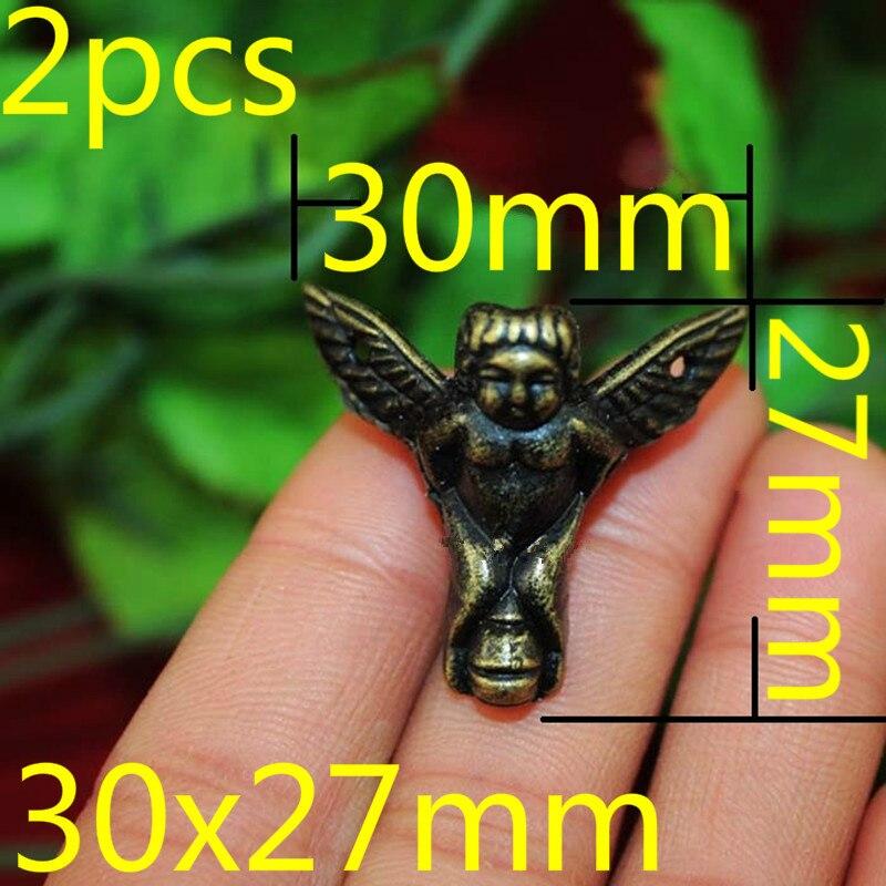 2PCS 30x27mm Zinc Alloy Mini Angel Feet Decoration Legs Vintage Wooden Box Cabinet Corner Bronze Tone