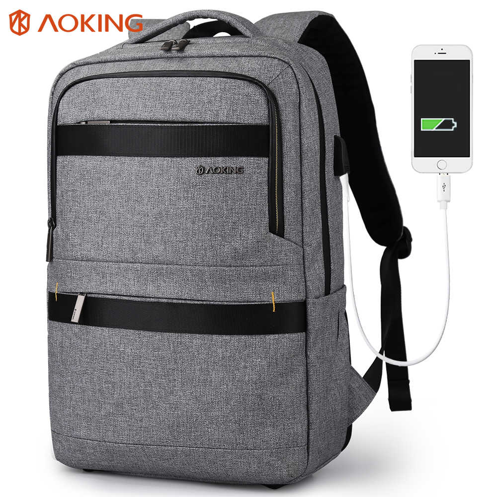 Aoking New Arrival Business Backpack With USB Charging Port Waterproof Backpack for Men Anti-theft Travel Lunch Box Bag