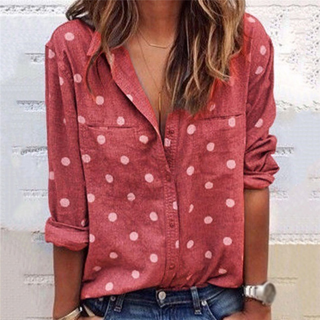 Women's Blouses Summer Casual Loose New Casual Blouse Lady Printing V-Neck Long Sleeve Blusas Femme