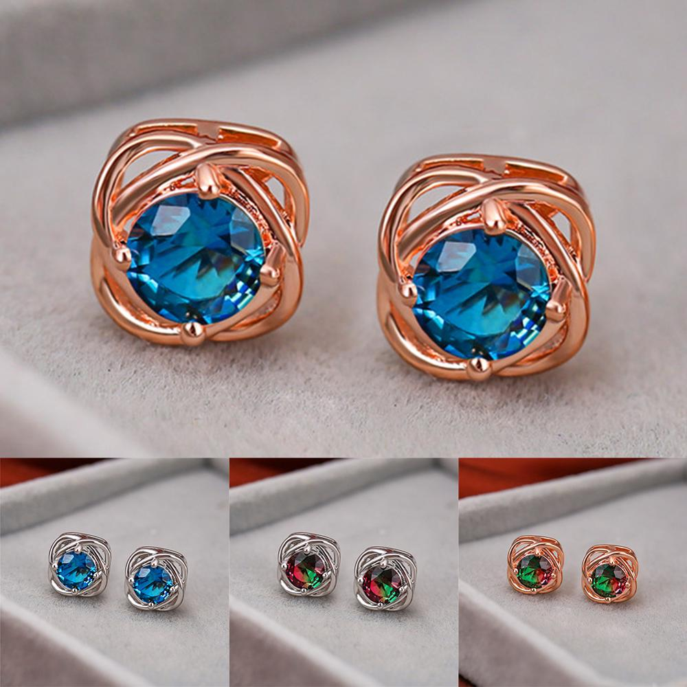 Simple Female Blue Round Crystal Earrings Rose Gold Silver Color Stud Earrings Vintage Rainbow Flower Wedding Earrings For Women