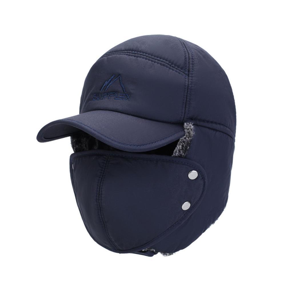 Inverno masculino chapéu à prova de vento quente rosto cheio destacável máscara ao ar livre boné de beisebol