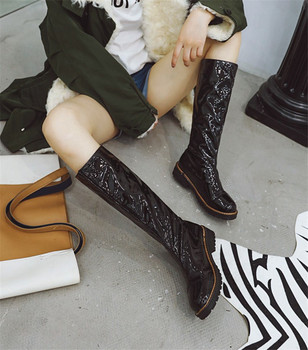Size 43 Sexy Long Cowboy Boot Lady Shoes Patent Leather Autumn Winter Boots Women Med Heels D Knight Women Knee High Boots Shoes
