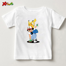 New Arrival Print Pikachu Cartoon Print Tee Tops For Boy Girls Clothing Summer Print Pikachu Children Funny lovely Kids T Shirt slogan print marled tee
