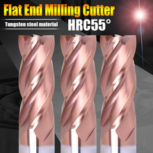 TuGe Tool HRC55 4 Flute Tungsten Steel Carbide End Milling Cutter CNC Flat End Mills for Steel Metal Alloy