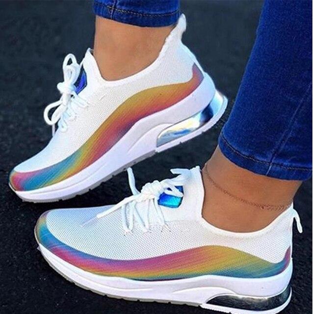 Zapatillas de deporte transpirables con cordones para mujer, zapato vulcanizado cómodo de talla grande para primavera y otoño, 2020 3