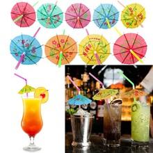 Nowy 100 200 300pcs parasol jednorazowe Bendy słomki do picia dla Luau Hawaii Beach słomki do picia z Party bary akcesoria tanie tanio CN (pochodzenie) Z tworzywa sztucznego