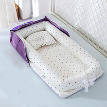 Foldable baby Crib Portable Crib basket Newborn Sleeping bed Cushion Bumpers cotton Nest Safety Protection YHM029