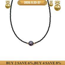 LiiJi Unico Della Collana Del Choker Reale Nero Spinello Sfaccettato Perle di Tahiti Nero Borsette Della Perla 925 Sterling Silver Oro Regalo di Colore