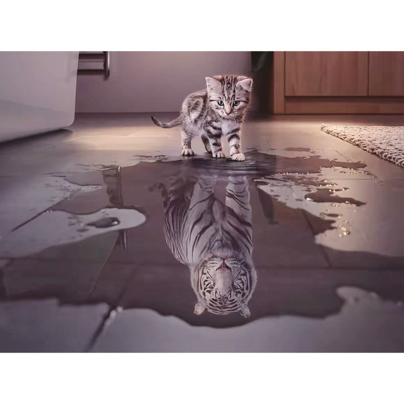 1000 Pcs Adult Puzzle Wooden Puzzle Classic 3D Tiger Cat Puzzle DIY Educational Puzzle Christmas Home Decoration Gift