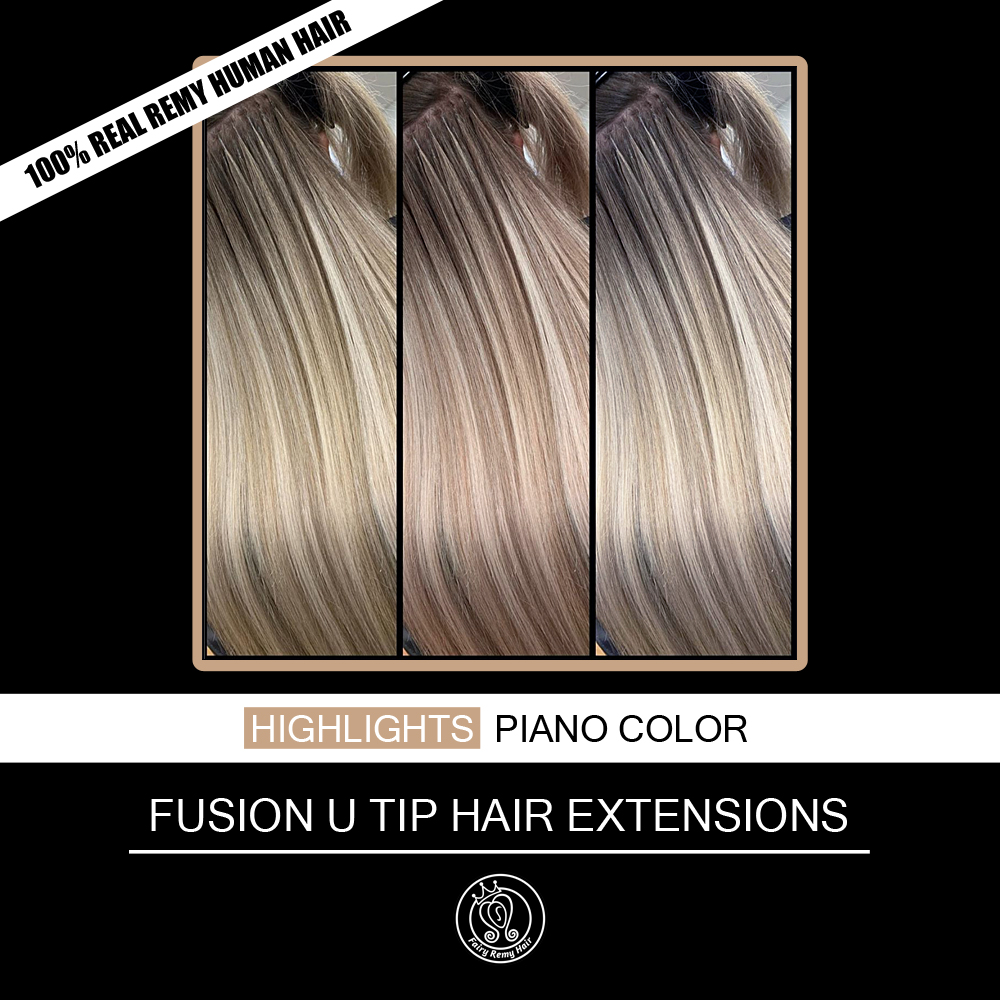 "Nail/U Tip Keratin Pre Bonded Real Remy Human Hair On Capsule Highlights Piano Blonde Color 0.8g/strand 16"" 18"" 20"" 40g/pack"
