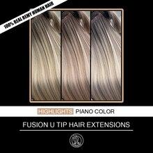 Prego/u ponta queratina pré ligado real remy cabelo humano na cápsula destaques piano cor loira 0.8g/strand 16 18 18 20 20 40 40 g/pacote