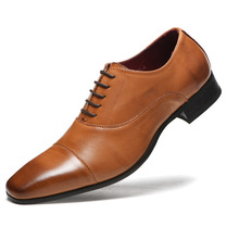 Brand Full Grain Leather Business Men Dress Shoes Retro Patent Oxford For